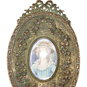 SALE Antique Victorian Hand Mirror w/ Metal Bow and Miniature Portrait