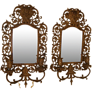 """SALE Big 17"""" Heavy Antique 1800's Bacchus Beveled Mirror Candle Wall Sconce Pair !!"""