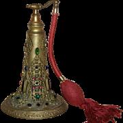 Rare 1920's Jeweled Antique Huge Empire Art Gold Perfume Bottle Atomizer ormolu/ colorful Gems