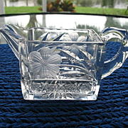 Cut Glass Creamer Asteroid Pattern H.C. Fry