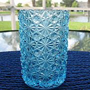 SALE Blue Daisy Button Celery Vase 5 In. Tall