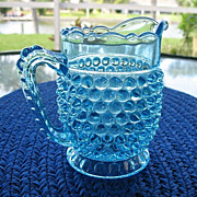 SALE Creamer Blue Hobnail With Thumbprint Band  Pristine