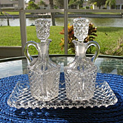 SOLD Crystal Oil Vinegar Set with Tray Diamond Pattern