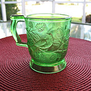 Robin in A Tree 2 Green 8 oz Cups 1880s Bryce