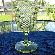 Late Paneled Diamond Point Canary Goblet 1886