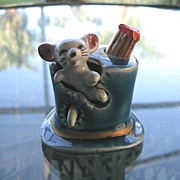 SOLD Mouse in a Hat Ceramic Toothpick Holder