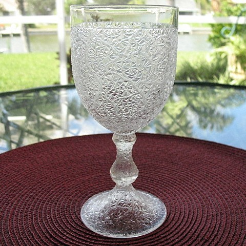 Tree Of Life Goblet Signed Portland Glass 1870 From