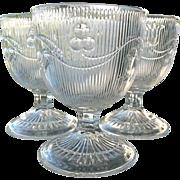 Bellflower 3 Flint Glass Buttermilk Goblets Single Vine Fine Rib