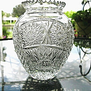 SALE Cut Glass Vase 6 in. Bulbous Body