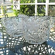 Brilliant Cut Paneled Daisy Button Creamer Sugar Set