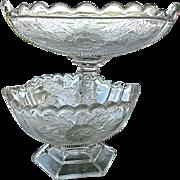 Rose Sprig Oval Pedestal 5 pc. Bowl Set 1866 Campbell Jones