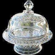 SALE Domed Pedestal Butter Dish Elson Hobnail 1885