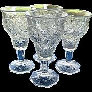 SOLD McKee 4 Rock Crystal 8 oz. Stemmed Water Goblets