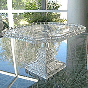 Square 10 in. Cake Stand Fine Cut in Squares 1880s