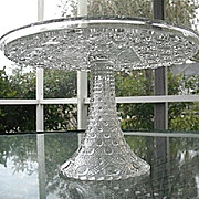 Cane Variation Stately Geometric Large Pedestal Cake Stand