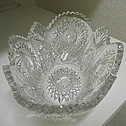 Antique American Brilliant Cut 11 in.  Oval Fruit Bowl