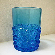 Sapphire Blue Daisy Button Tumbler Hobbs Brockunier 1884