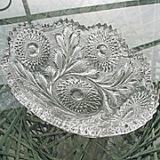 Feather and Hobstar 11 in. Fruit Bowl Millersburg Glass 1909