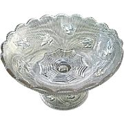 Ribbed Ivy Flint Glass Compote Boston Sandwich