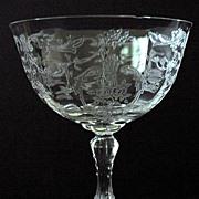 Fostoria Navarre Etch Stem 6016 Saucer Champagne Glass