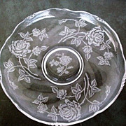 SALE Extra Large Heisey Rose Shallow Bowl  Waverly Blank