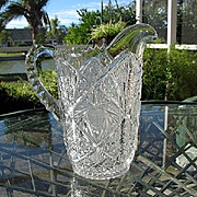 SALE Water Pitcher Ornate Pressed Glass EAPG