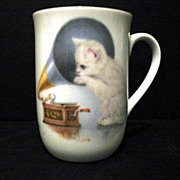 SALE Cup Bone China Otagiri Cat with Phonograph Made in Japan
