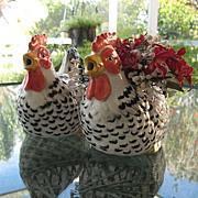 SALE Speckled Hen Pair Teapot  Plus Planter Otagiri Ceramic