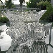 SALE Bowl Set 3 Pc Floral Lace Crystal Studio Nova