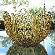 Large Amber Bowl Paneled Tulip Shape Daisy Button Duncan Ellrose