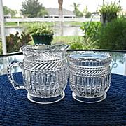 SALE Creamer Spooner EAPG Strigil Tarentum Glass 1892