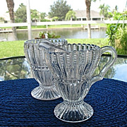 EAPG Crystal Creamer Spoon Holder Set Imperial 1904