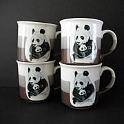 SALE Adorable Pandas 4 Large Cups Otagiri Japan