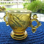 SOLD Amber 1880 Atterbury Swan Sugar Bowl with Ring Handles