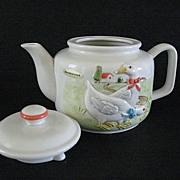 Country Kitchen Teapot Otagiri Ribboned Geese 1983 Ceramics