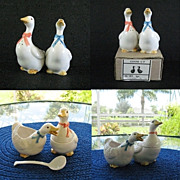 Country Kitchen Ribboned Geese Salt Pepper Cream Sugar