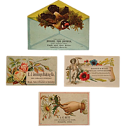 4 Trade Cards- The Hatter, Carriage Repair, Baker, Stoves And Tin Ware