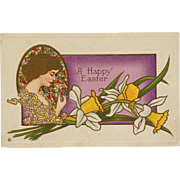 SOLD Golden Haired Lady With Easter Daffodil