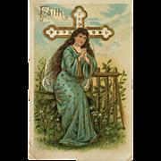 Embossed Easter Postcard-Faith
