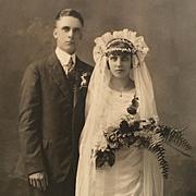 Studio Photograph- Fashionable 20's Bride With Veil