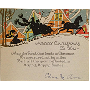 2 Art Deco Vintage Christmas Cards- Silhouette Sleigh Ride And Christmas Delivery