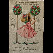 Hearts On Trees Valentine Postcard-Bertha E Blodgett