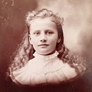 SALE Cabinet Card-Young Girl With Beautiful Face And Long Blonde Curls
