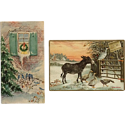 2 Vintage Mini Christmas Cards- Tuck's Donkey With Friends And Blue Birds On Bough