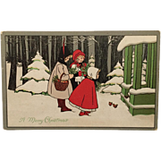 SOLD Christmas Girls With Red Feather, Hat and Cape- Pauli Ebner Unsigned
