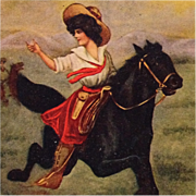 SOLD Cowgirl Galloping Ahead- A/S Reynolds Postcard