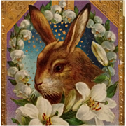 SOLD Gorgeous Gentle Bunny Postcard With Gilded Lilies And Star Studded Sky