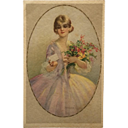 Corbella Postcard- Lady In Lavender With Bouquet