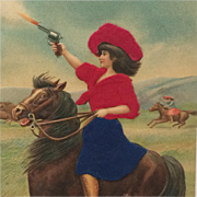Cowgirl Riding The Range With Six Shooter- Silk Applique