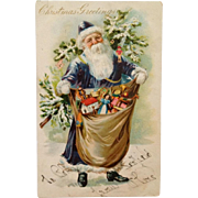 SOLD Early 1900's Tuck's Old World Santa In Blue Suit - Undivided Back
